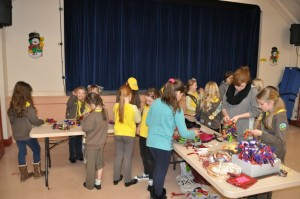 Brownies making wreaths