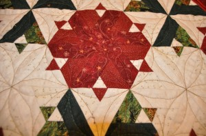 Festive table centre quilted