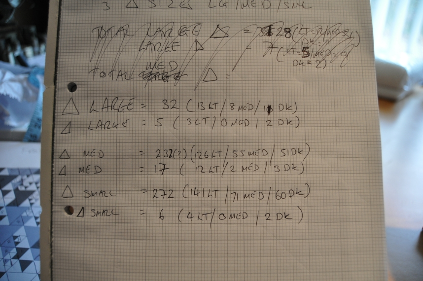 Triang totals; horrible handwriting